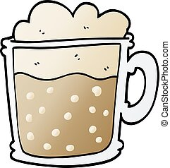 cartoon doodle foamy latte