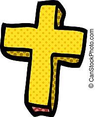 cartoon doodle gold cross