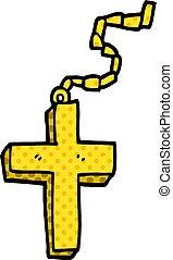 cartoon doodle gold crucifix