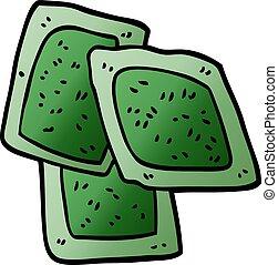cartoon doodle green tea