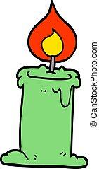 cartoon doodle lit candle