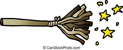 cartoon doodle magic broom sticks