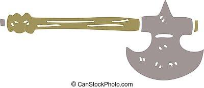 cartoon doodle medieval axe