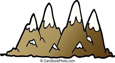 cartoon doodle mountain range