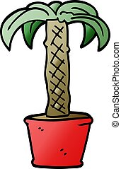 cartoon doodle potted plant