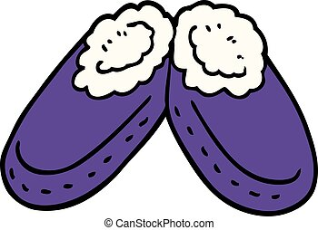 cartoon doodle purple slippers