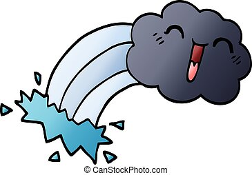 cartoon doodle rainbow rain cloud