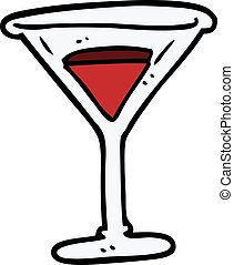 cartoon doodle red cocktail