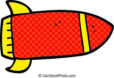cartoon doodle red rocket
