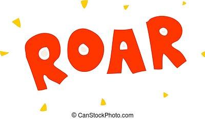 cartoon doodle roar sign