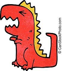 cartoon doodle roaring t rex