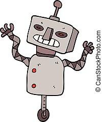 cartoon doodle robot on wheel