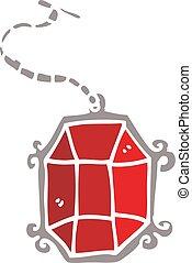 cartoon doodle ruby pendant