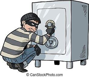 Cartoon doodle safecracker