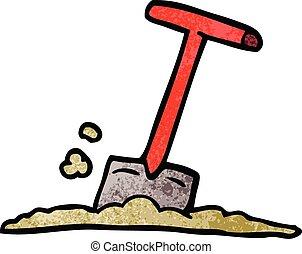 cartoon doodle shovel in dirt