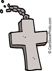 cartoon doodle silver cross