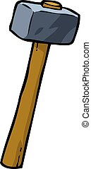 Cartoon doodle sledgehammer on a white background vector...
