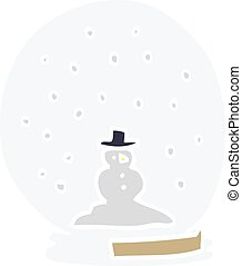 cartoon doodle snowglobe