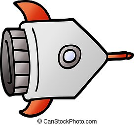 cartoon doodle spaceship