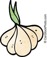 cartoon doodle sprouting garlic