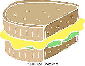 cartoon doodle toasted sandwich
