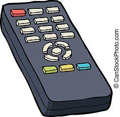 Cartoon doodle TV remote control vector illustration