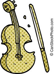 cartoon doodle violin and bow
