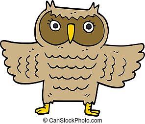 cartoon doodle wise old owl