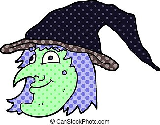 cartoon doodle witch face