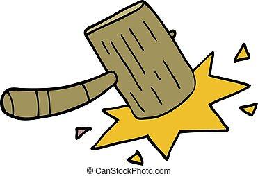 cartoon doodle wooden mallet