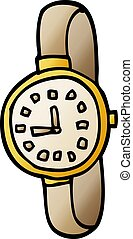 cartoon doodle wrist watch