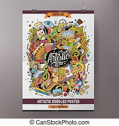 Cartoon doodles Art poster template