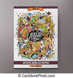 Cartoon doodles Art poster template