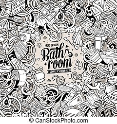 Cartoon doodles Bathroom frame