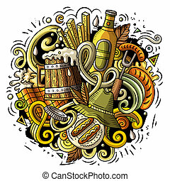 Cartoon doodles Beer fest illustration. Bright colors Oktoberfest funny picture