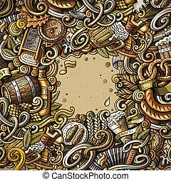 Cartoon doodles Beer fest illustration. Oktoberfest funny picture