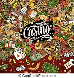 Cartoon doodles casino frame design