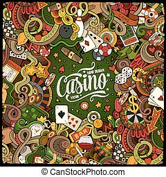 Cartoon doodles casino frame design - Cartoon cute doodles...