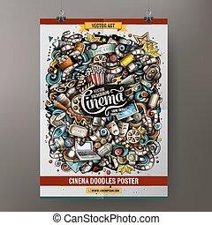 Cartoon doodles cinema poster template