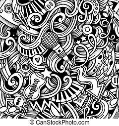 Cartoon doodles hand drawn Music seamless pattern - Cartoon...