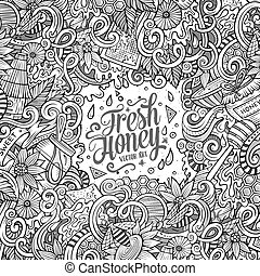 Cartoon doodles Honey frame design