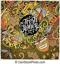 Cartoon doodles Honey frame design