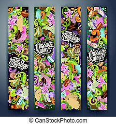 Cartoon doodles Massage salon 2 horizontal banners
