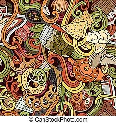 Cartoon doodles Russian food seamless pattern