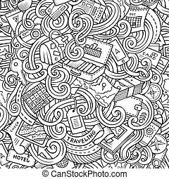 Cartoon doodles travel planning seamless pattern - Cartoon...