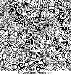 Cartoon doodles under water life seamless pattern