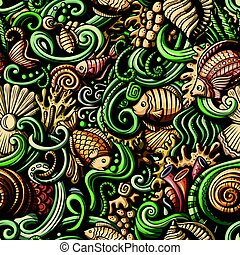 Cartoon doodles under water life seamless pattern - Cartoon...