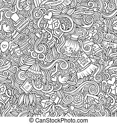 Cartoon doodles wedding seamless pattern - Cartoon vector...