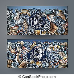 Cartoon doodles winter season banners