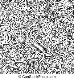 Cartoon doodles Winter season seamless pattern - Cartoon...